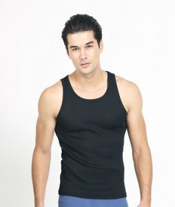 UW155 Men's Black Sleeveless Undershirt
